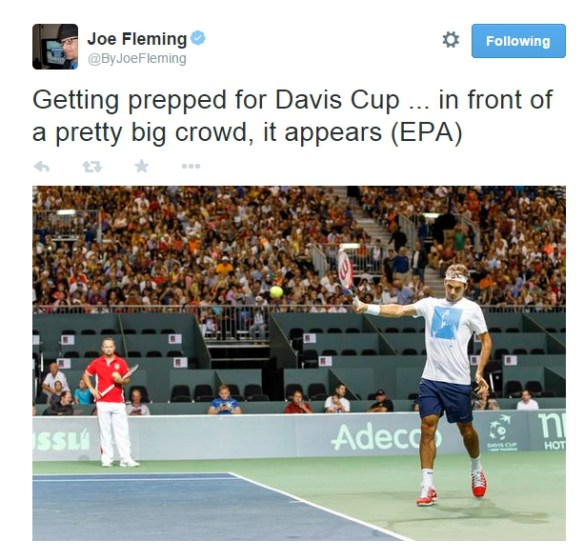 Davis Cup massive crowd Geneva practice Roger Federer Italy semifinal