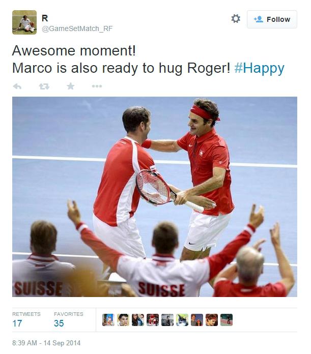 Roger Federer Severin Luthi hug Italy victory pics