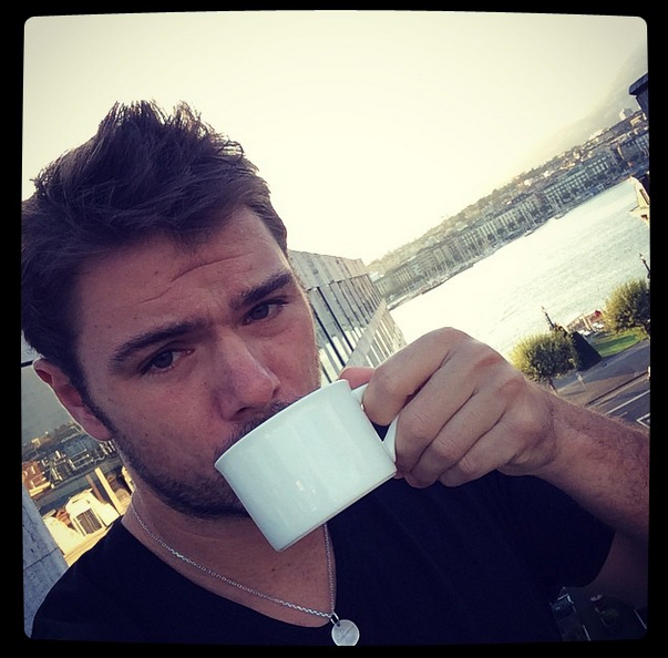Stan Wawrinka Instagram morning cup of coffee Italy Fognini match