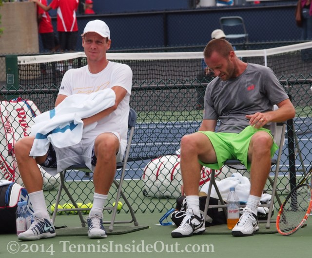 Western and Southern Open Tomas Berdych  sitting on break changeover practice toweling off contemplative serious look