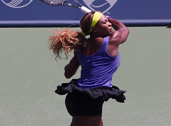 Western and Southern Open tennis 2014 Serena Williams twirl black skirt