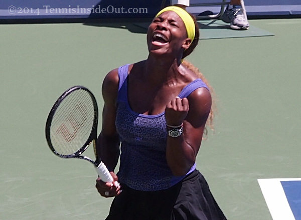 Serena Williams yell fist pump Cincinnati Premier tennis 2014 Stosur match