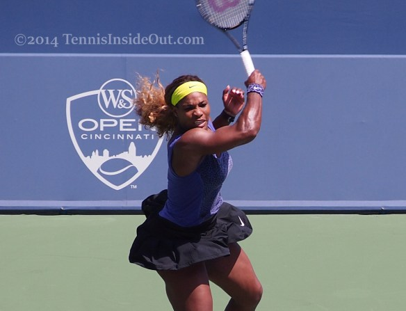 Western and Southern Open Serena Williams purple leopard print top black skirt Cincy 2014