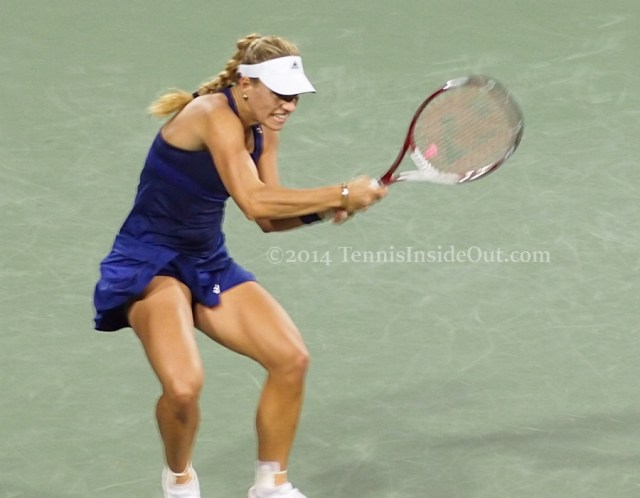 Angelique Kerber intense backhand gorgeous sexy thighs blue dress racquet photos pics Cincinnati