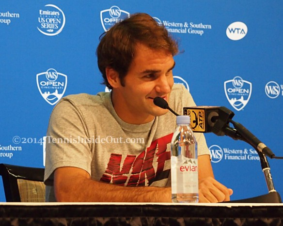 Smiling Fed in press for Cincy masters tennis 2014
