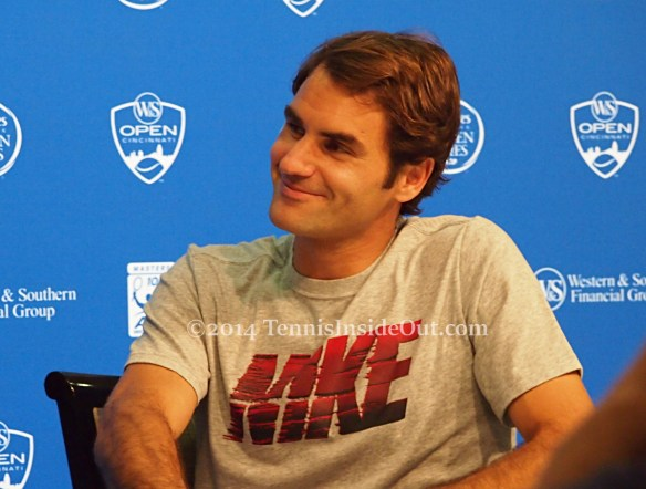 Adorable smile Roger Federer press conference Western and Southern Open Cincinnati 2014