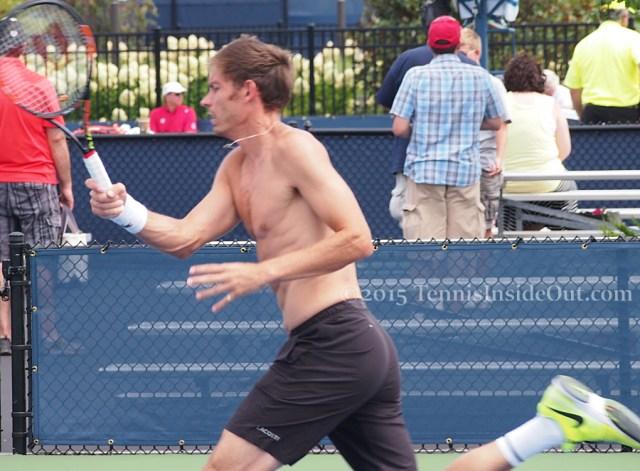 Nico Mahut shirtless running forehand tight ass black shorts fluffy wavy hair French