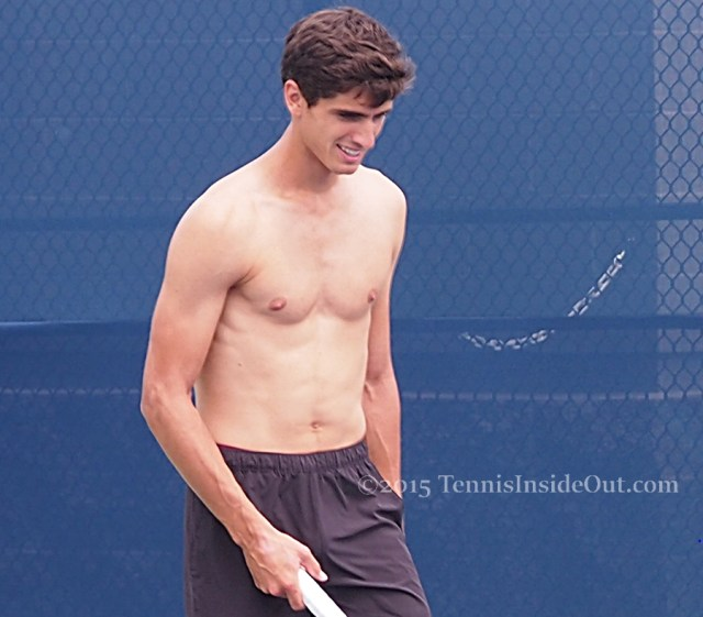 Gorgeous hair Frenchman Pierre-Hugues Herbert Western and Southern Open shirtless practice great wavy dark hair