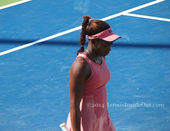 Cincy tennis close up Sloane Stephens pink Under Armor dress