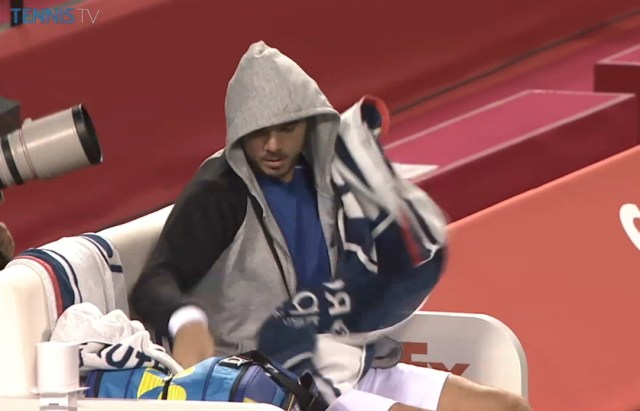 Rakuten Open Japan Stan Wawrinka cute hoddie gray black blue white kit tennis bag Yonex