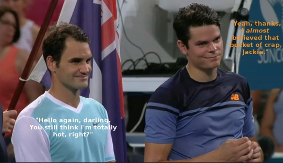 Roger Federer and Milos Raonic during premier's speech Brisbane final
