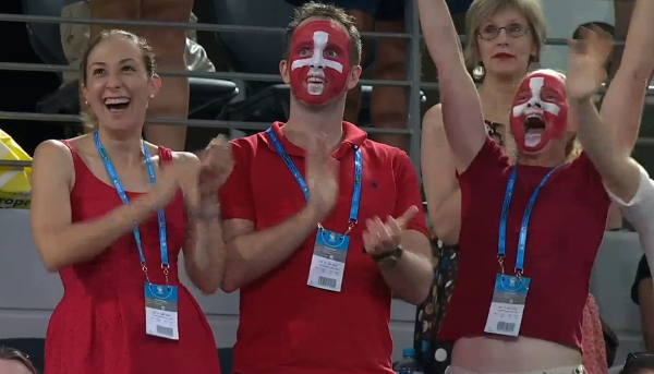 Swiss fans painted faces red white flag Brisbane final 2016