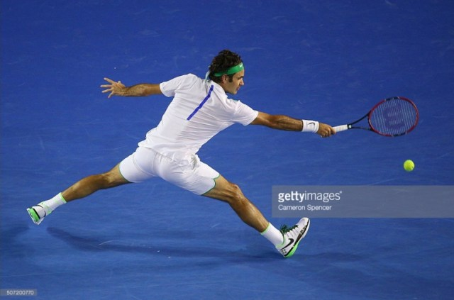 Roger stretch Djokovic match Australian Open Getty