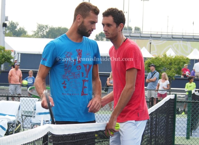 James Ward gets in close next to Benoit Paire
