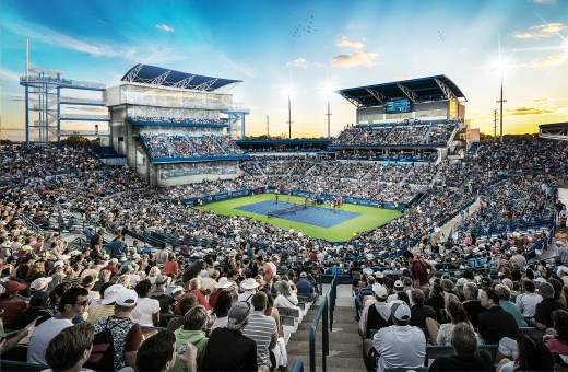 Projected view of Cincinnati Masters tournament new construction 2018 South building with air-conditioned box seats