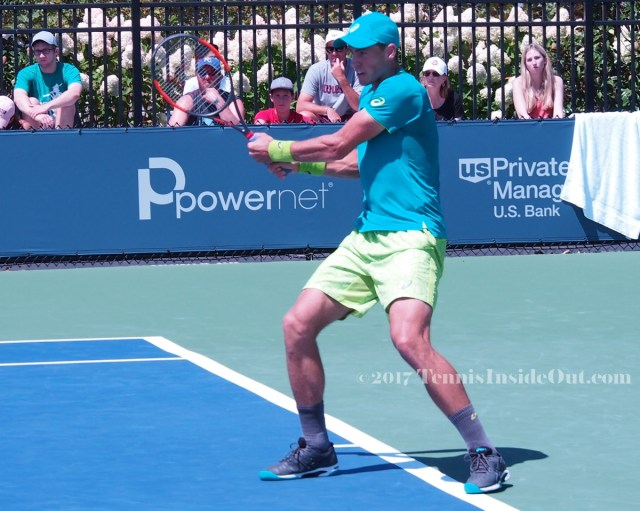 Vasek Pospisil cute neon yellow green turquoise tennis kit backhand open stance shot