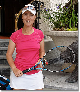 Lucinda Gibbs, pro at Roy Emerson Tennis Weeks, Gstaad, Switzerland