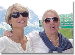 Steffi and Fabienne, two campers at Roy Emerson Tennis Week in Gstaad, Switzerland