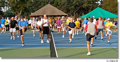 Monday morning calisthenics at Newk's Tennis Fantasies camp