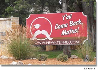 Sign at exit from John Newcombe Tennis Ranch