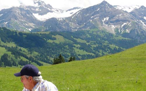 View of the Alps and Roy Emerson in Gstaad, Switzerland