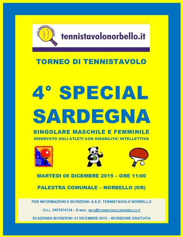 Locandina 4° Torneo Tennistavolo Special Norbello 08-12-2015