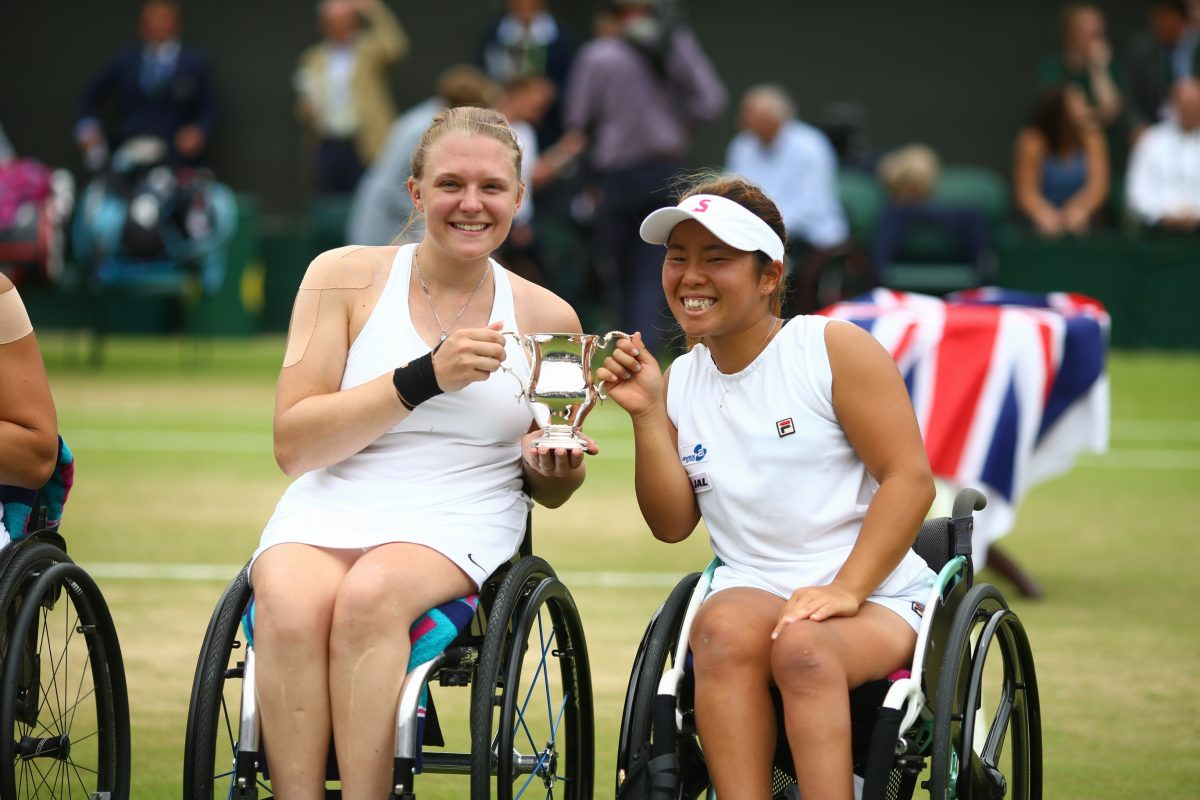 Jordanne Whiley secures fourth successive Wimbledon wheelchair doubles title with Yui Kamiji