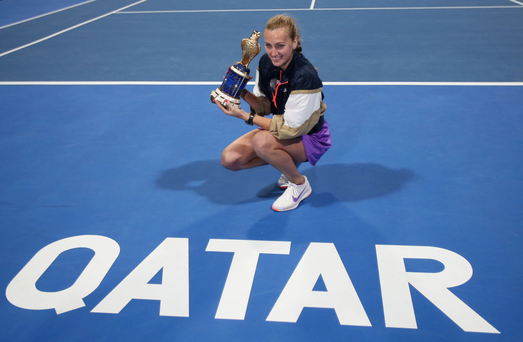 Kvitova dismantles Muguruza to win Qatar title