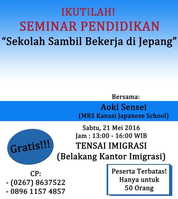 Seminar Edukasi Tensai Mei 2016