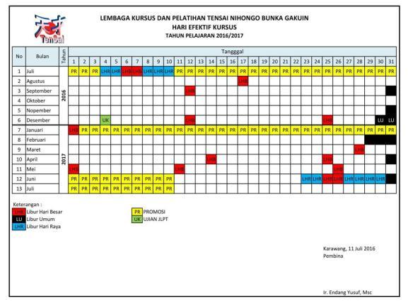 Kalender Tensai 2016 - 2017