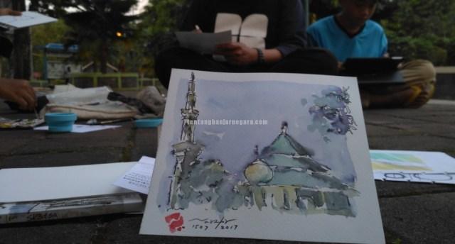 Foto: Sesi Nggambar bareng, hasil sketching Masjid Agung Banjarnegara oleh Pak Nashir