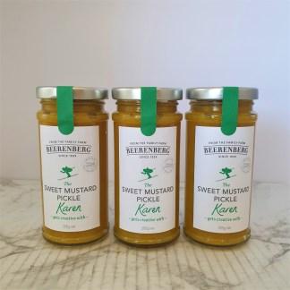 Three full jars of sweet mustard pickle