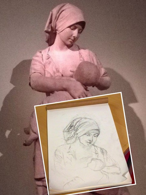 Mother and Child - sculpture and first sketch