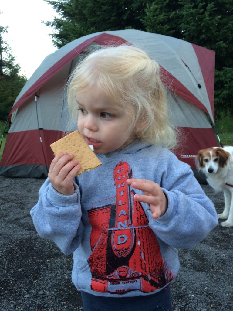 Family camping at Stub Steward State Park in Oregon was the perfect opportunity for my preschooler's first s'more!