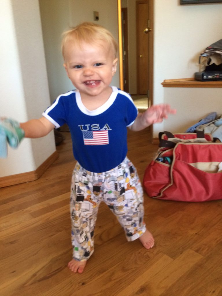 This 13 month old cheered on Team USA during the Olympics! Ten Thousand Hour Mama