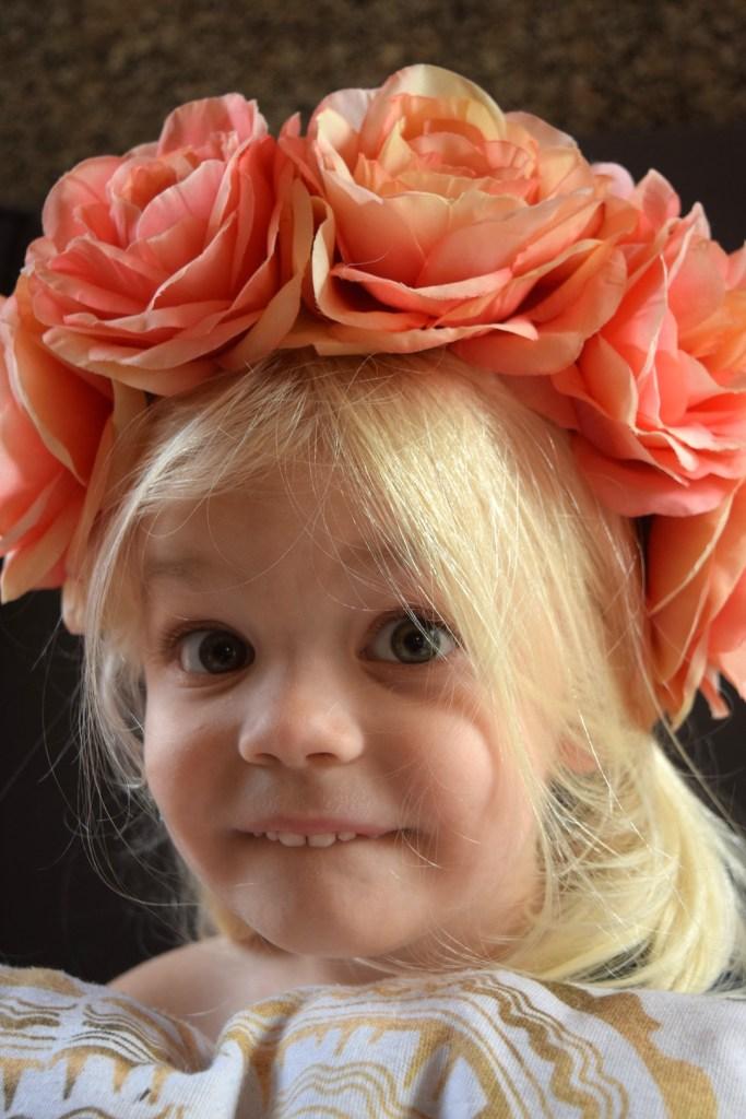 A beautiful flower crown for my preschooler daughter. Ten Thousand Hour Mama