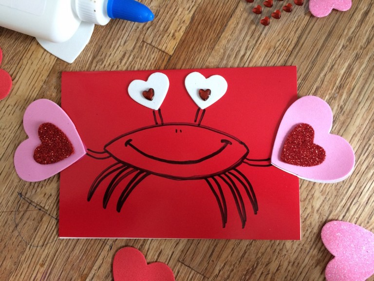 Valentine's Day craft // handmade valentine // crabs and hearts! Ten Thousand Hour Mama
