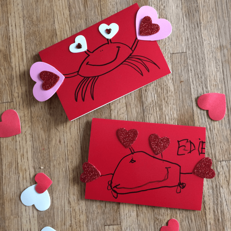 Kids Valentine's Day craft // handmade cards // crabs and hearts and glitter! Ten Thousand Hour Mama