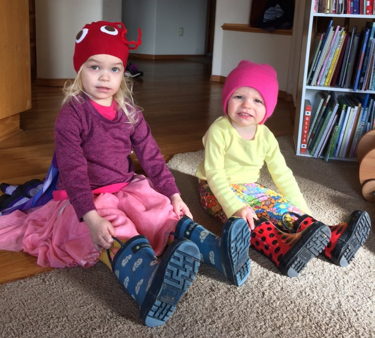 Sisters in rain boots