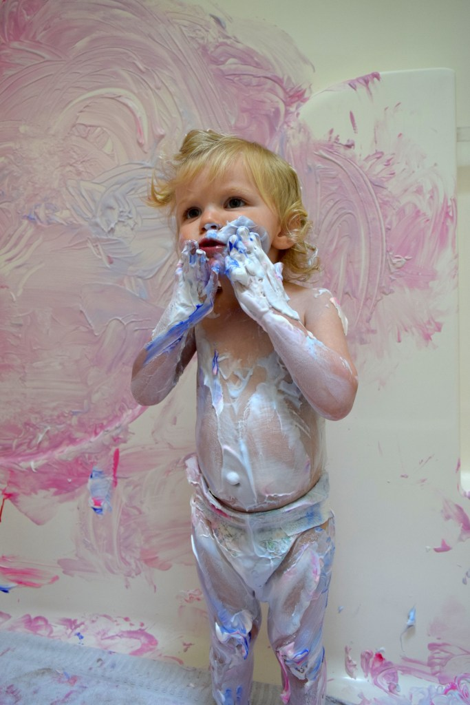 Shaving cream and paint in the bath kids messy craft project - Ten Thousand Hour Mama
