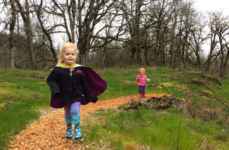 Taking my super hero preschooler on a hike—with her cape, of course. Ten Thousand Hour Mama