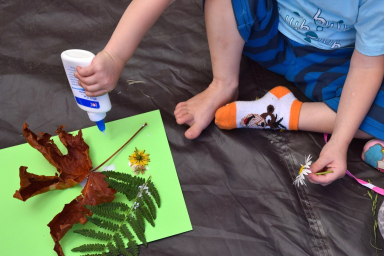 Camping crafts like this nature collage art project keep kids happy when you're family camping—and require almost no prep or supplies! Ten Thousand Hour Mama