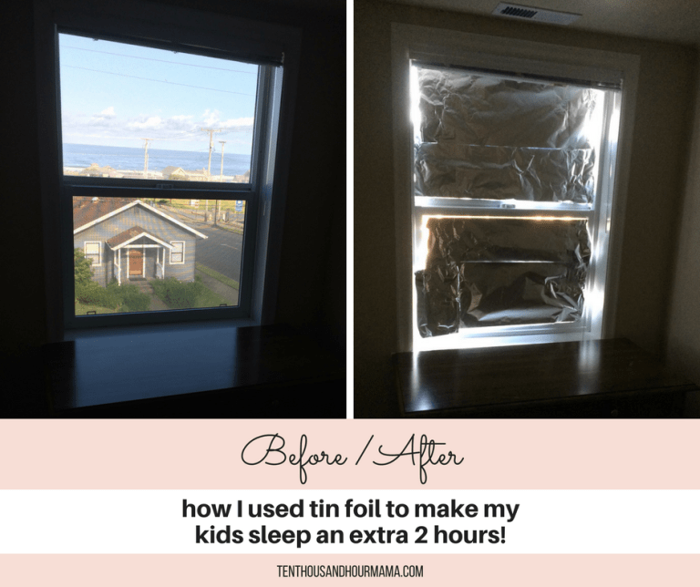 Before/After: This tin foil hack made my kids sleep 2 hours longer on vacation. Heck yes! Ten Thousand Hour mama