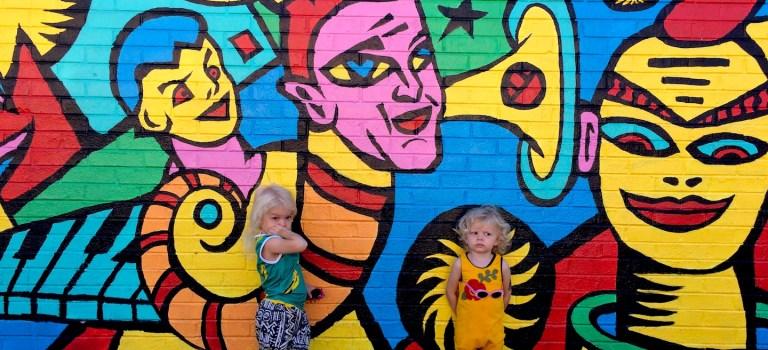 Kids' mini mural crawl in North Portland, Oregon
