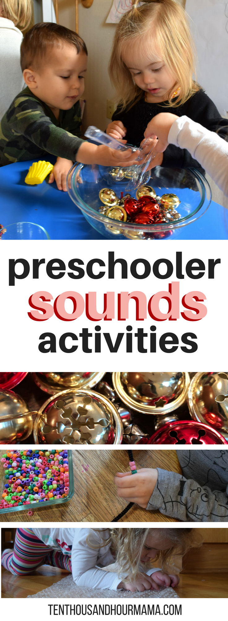 Toddler preschool sounds theme and activities for homeschool - ideas for sensory play. Ten Thousand Hour Mama