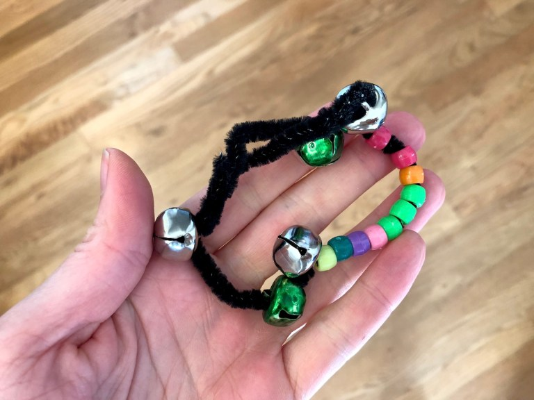 Sounds activities - jingle bell bracelet for 5 senses lessons. Ten Thousand Hour Mama