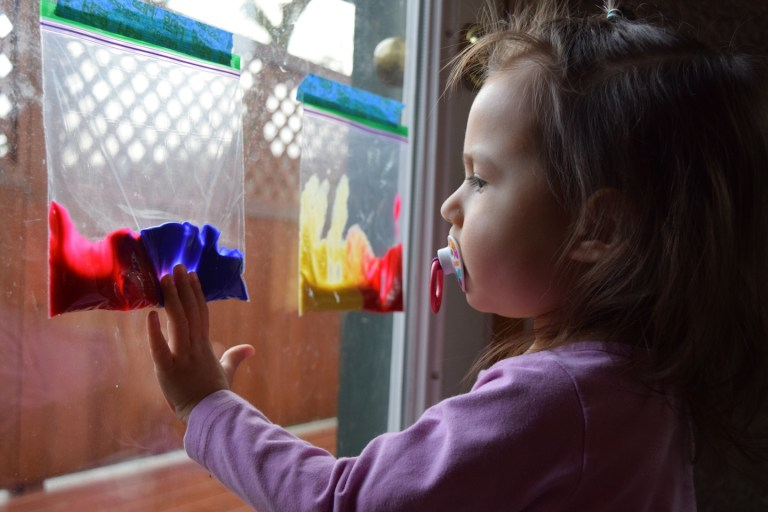 Mixing colors activities for homeschool preschool lesson - no mess paint. Ten Thousand Hour Mama