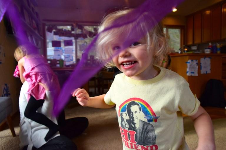 Mixing colors homeschool preschool activities - scarf dancing. Ten Thousand Hour Mama