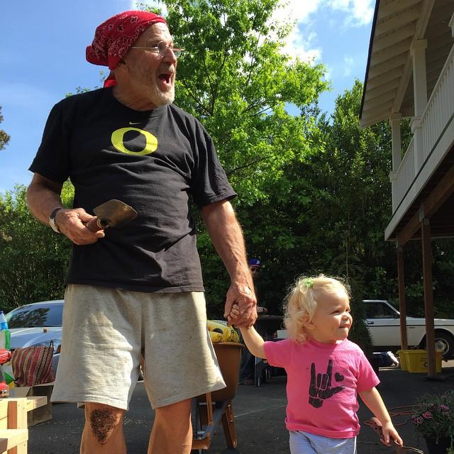 grandpa toddler gardening sun