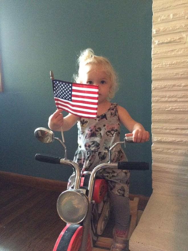 Toddler American flag Memorial Day motorcycle